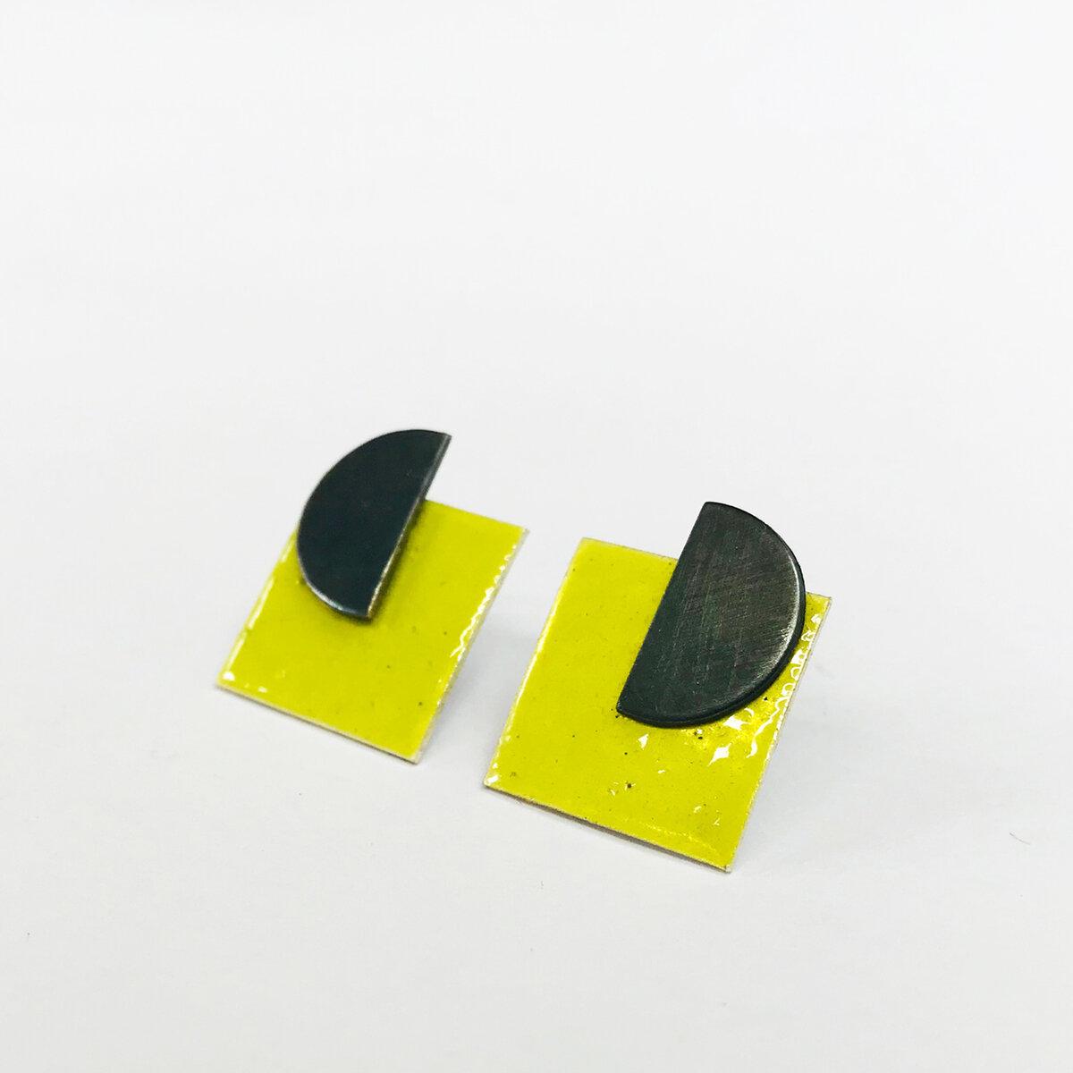 Square Enamel Earrings - Lime.jpg