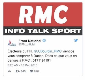 "Front National Response on Twitter: ""National Front Voters, @JJBourdin_RMC   has just compared you to Daesh. Call RMC with your views"", 16 Dec 2015"