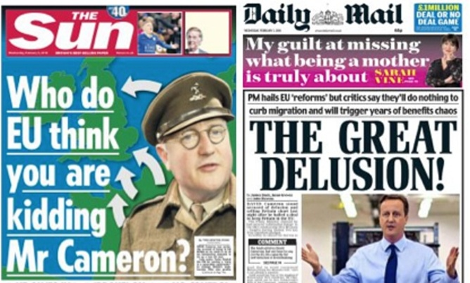 Two of the largest circulation newspapers in the UK savage David Cameron after his 'renegotiation' with Brussels is complete