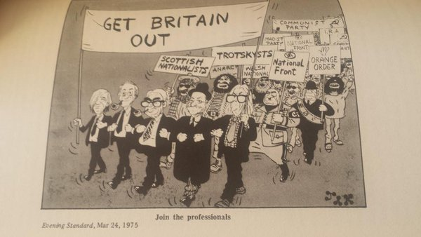 'Join the Professionals' - a slogan used by the Remain campaign in the 1975 Referendum. The image shows Michael Foot, Enoch Powell, and various extremist parties, showing that no major figures near any political power backed leaving the EEC at the time. Remain won in a landslide, by 67% to 32%.