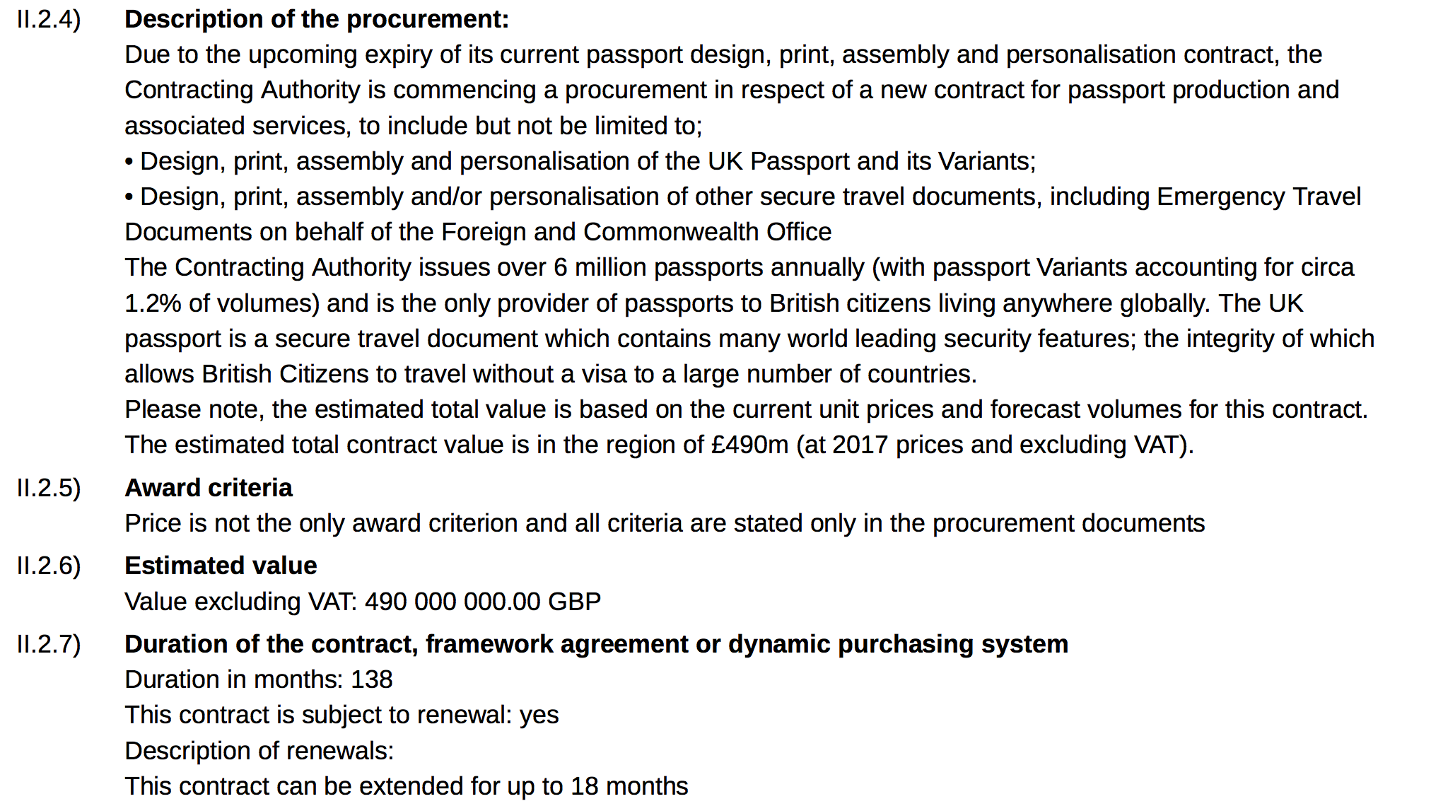 Extract of Government tender notice, 'Passport Production and Associated Services Contract', via contractsfinder.gov.uk