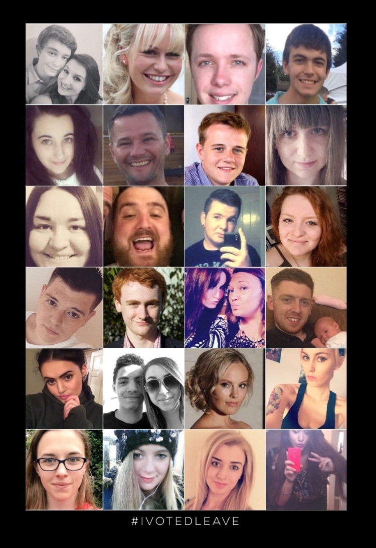 Selection of young user voter profiles from Twitter on the day of the referendum, using the hashtag #ivotedleave (the no.1 trending topic for the day in the UK). Source:Kingdom Comment