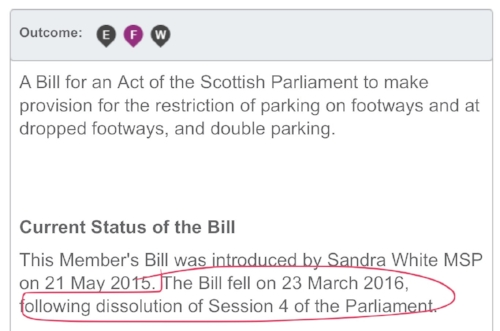The Sandra White bill wasn't put to a vote in Holyrood
