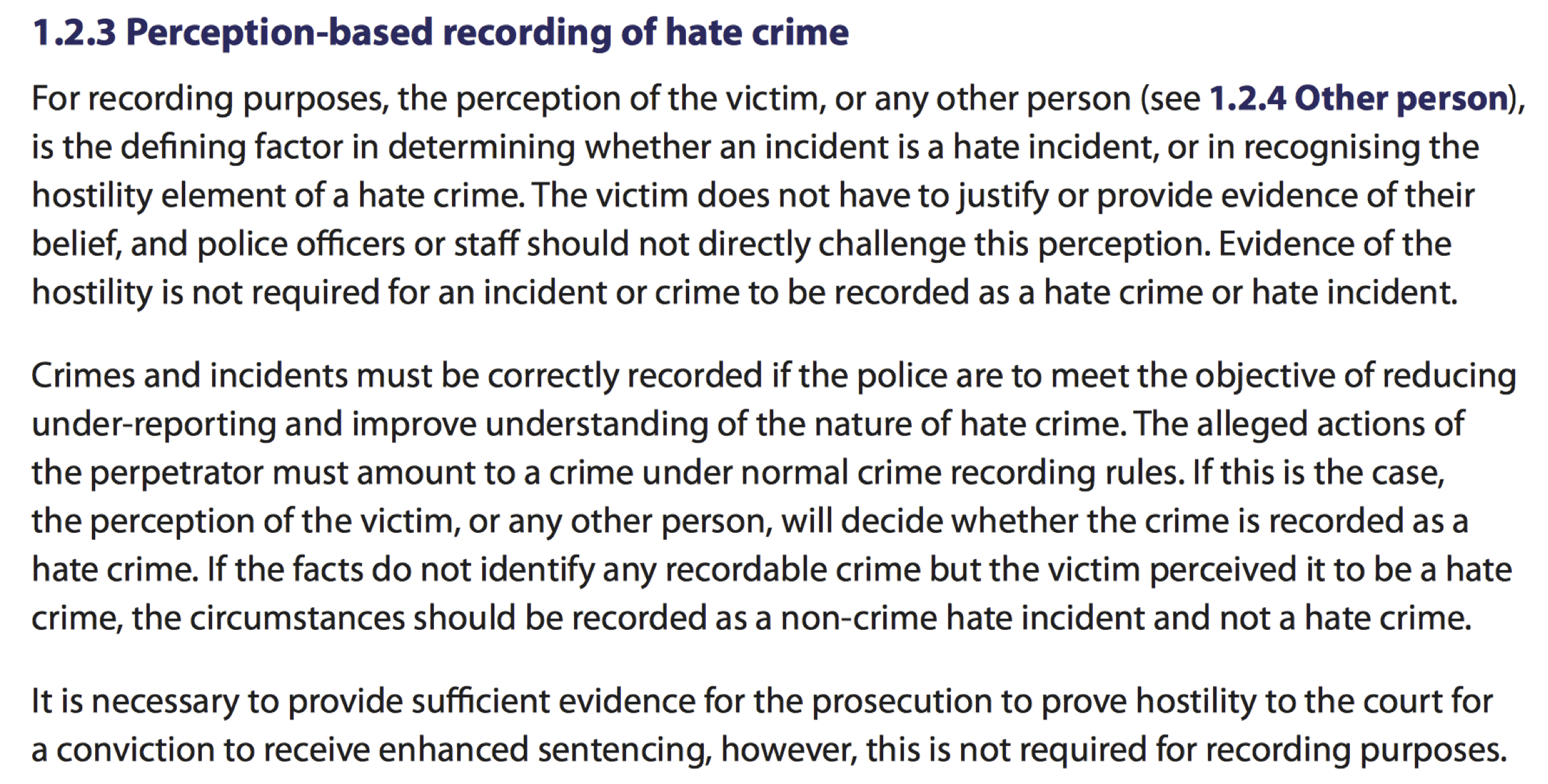 College of Policing Operational Guidance on Hate Crime