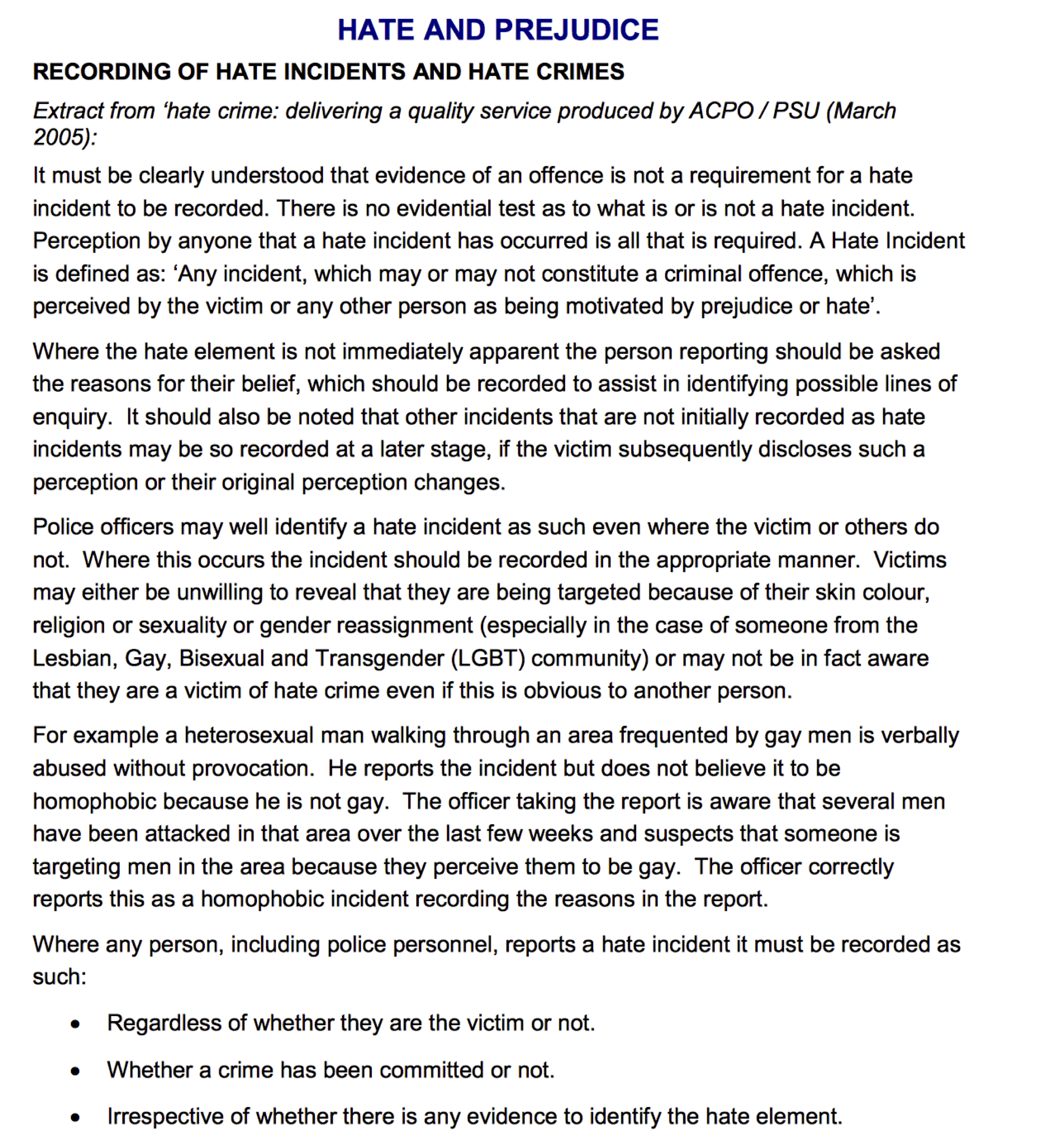 National Standard for Incident Reporting rules on Hate Crime (2005)