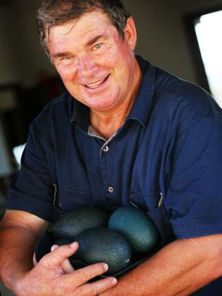 Owner, Kip Venn with some Free Range Emu Farm eggs