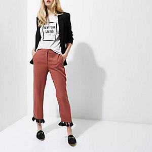 Copper tassel hem cropped trousers €55