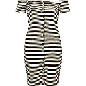 White and black stripe bardot bodycon dress €35