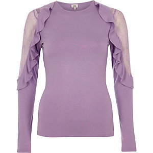 Light purple frill lace sleeve top €30