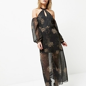Black floral cold shoulder maxi dress €60