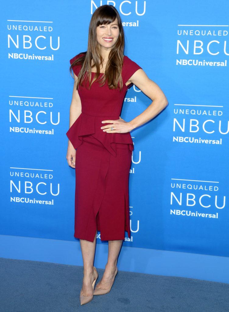 Jessica Biel wearing Roland Mouret