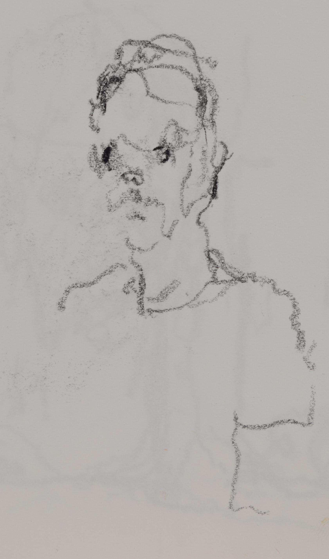 """Self Portrait"" crayon on paper  2016  6""x6"""