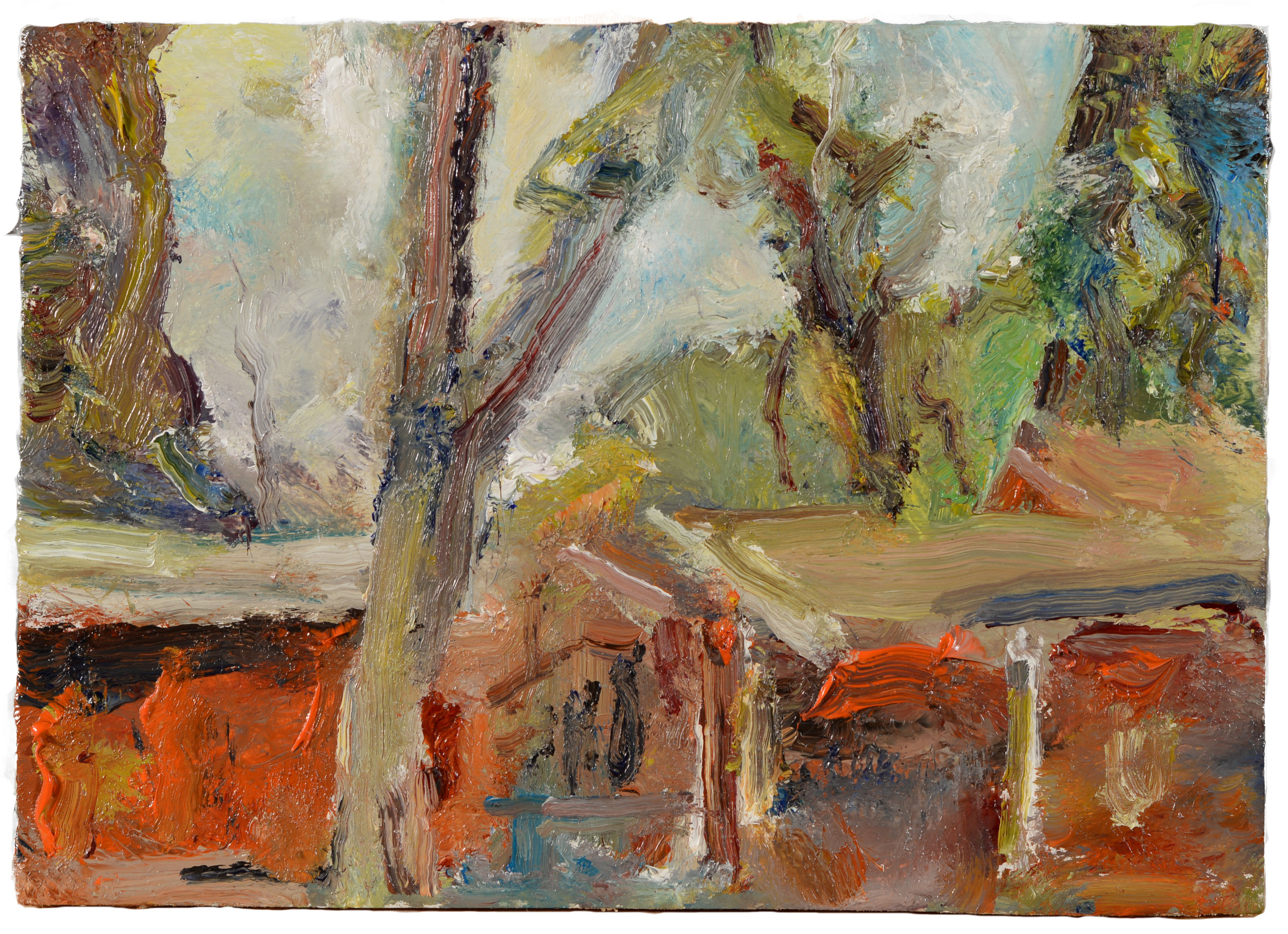 """""""Red Garage and House"""" oil on panel  2015  6""""x10"""""""