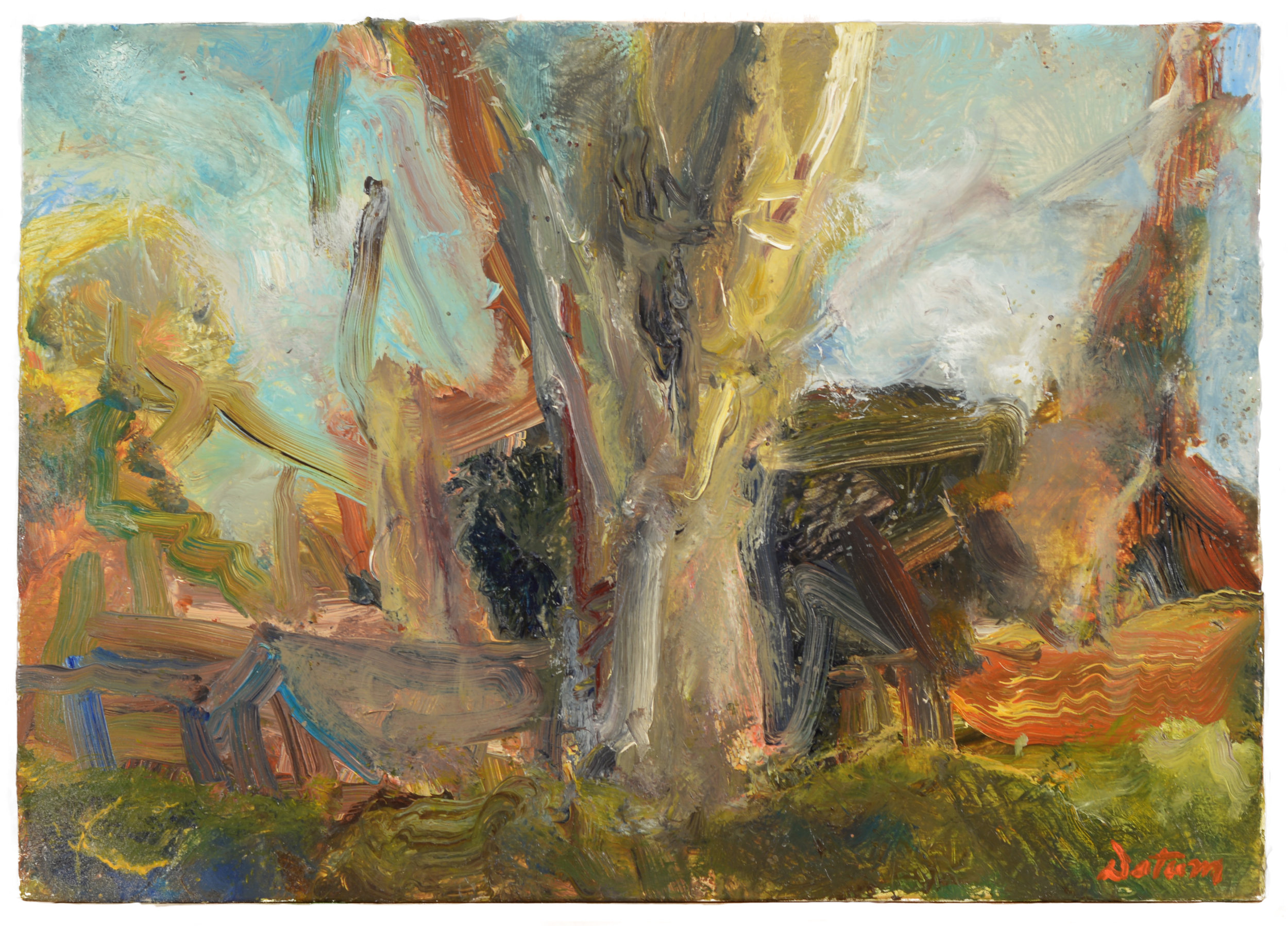 """""""Tree and Shed"""" oil on panel  2014  8""""x10"""""""