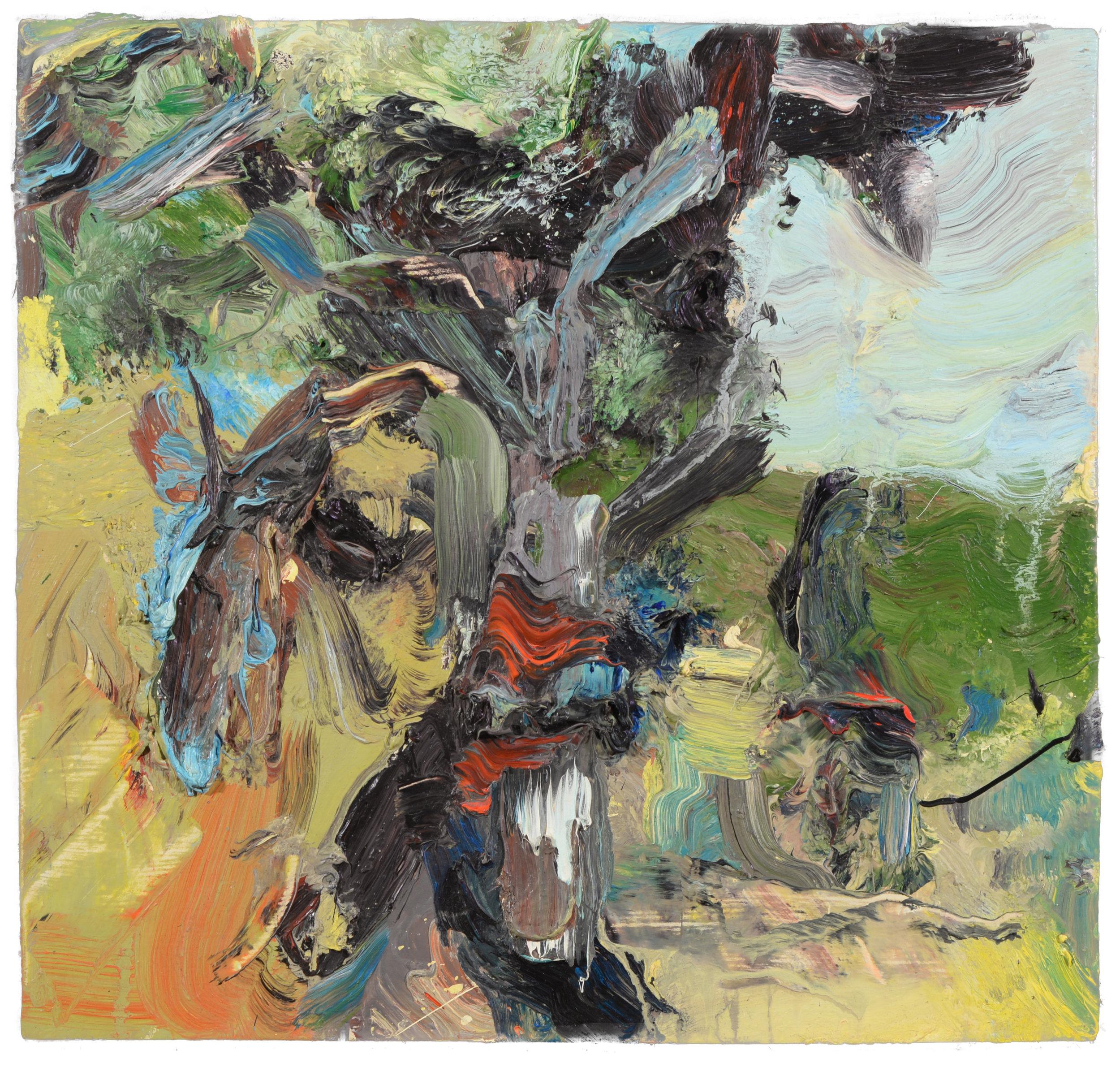 """""""Tree, Marine Drive"""" oil on panel  1992  14""""x15"""""""