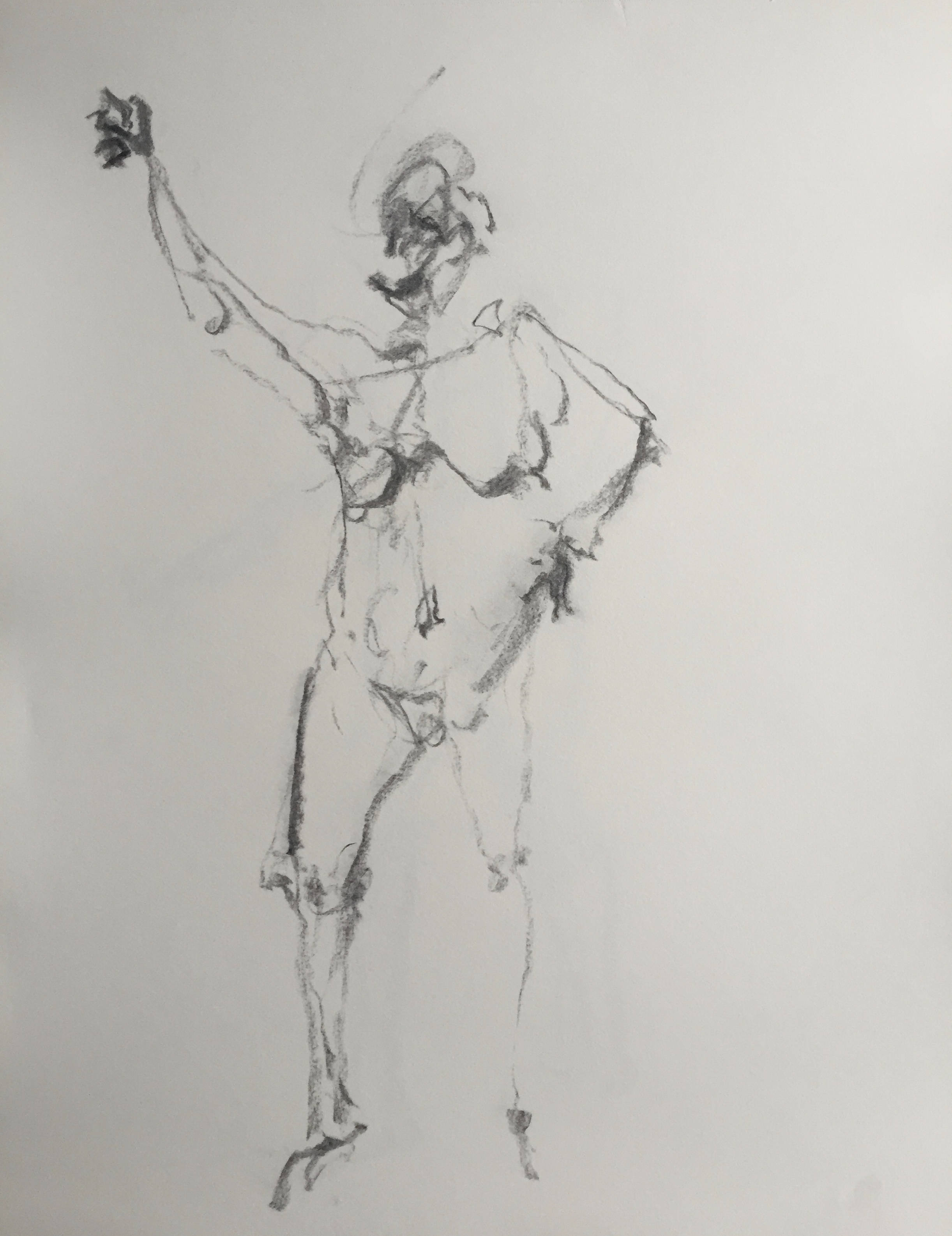 """Standing Figure"" charcoal on paper  2017  17""x14"""