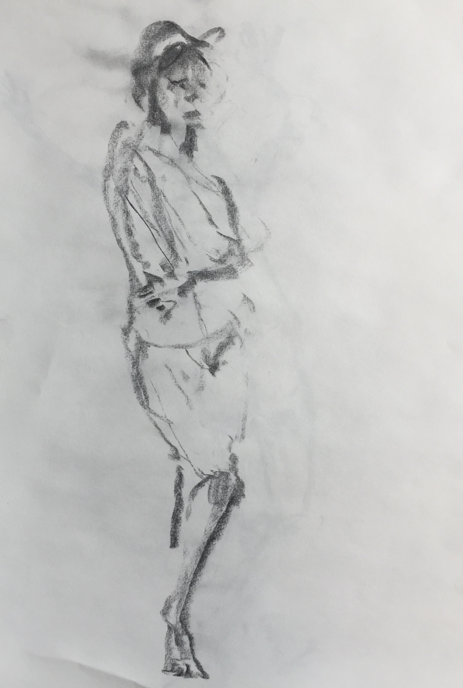"""Standing Nude"" charcoal on paper  2017  17""x14"""