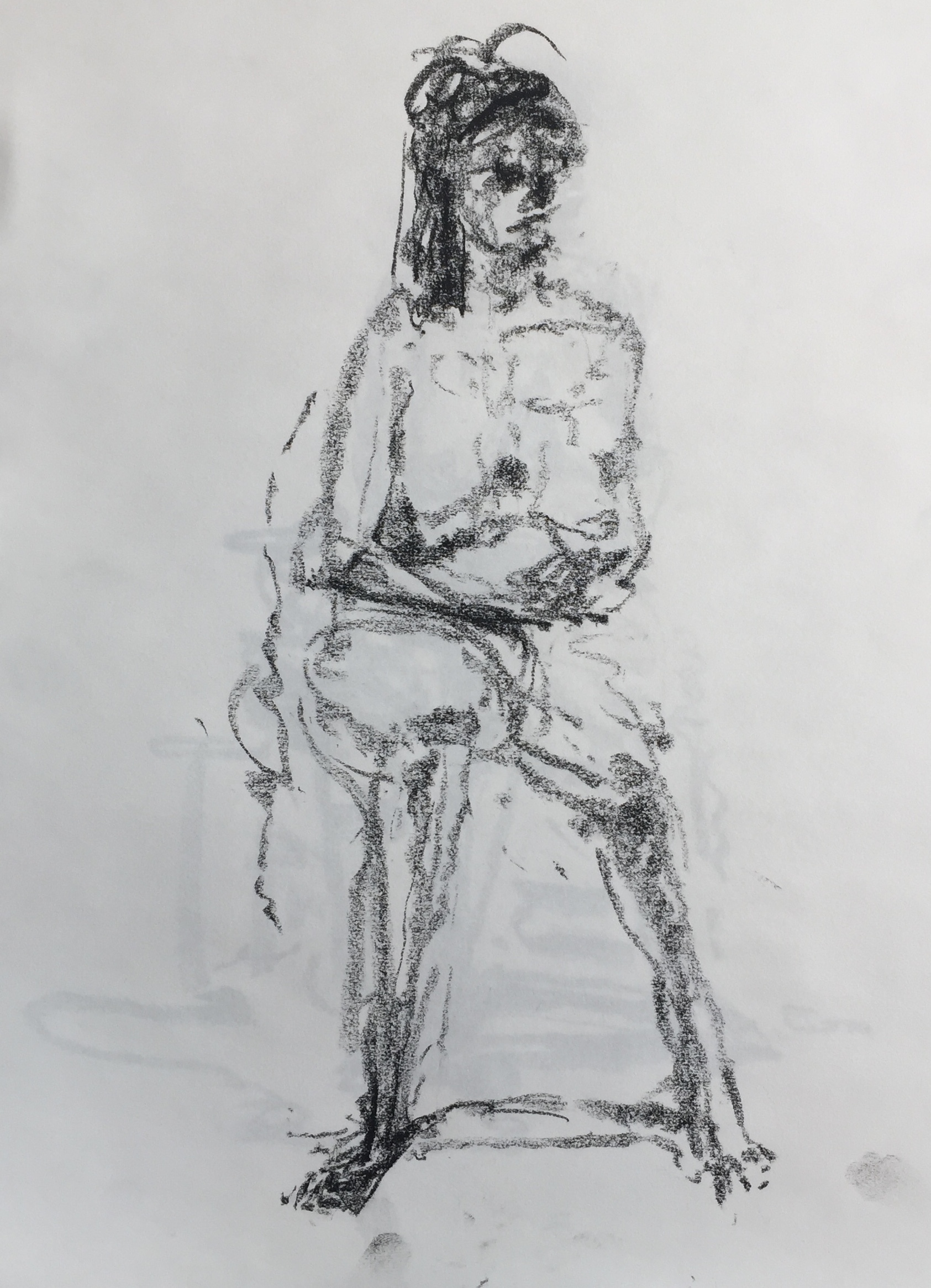 """Seated Nude"" charcoal on paper  2017  17""x14"""