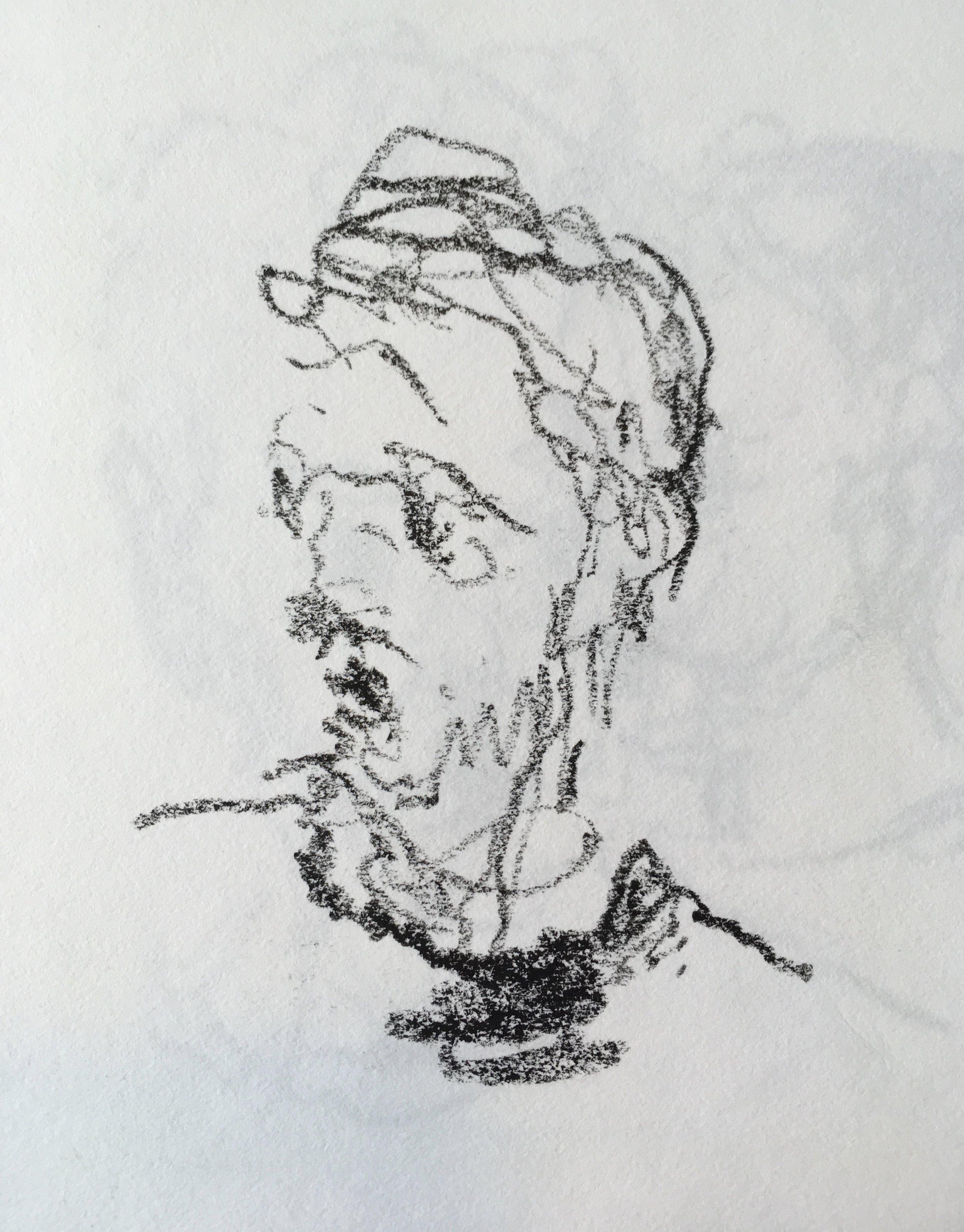 """Self Portrait"" crayon on paper 2027 6""x6"""