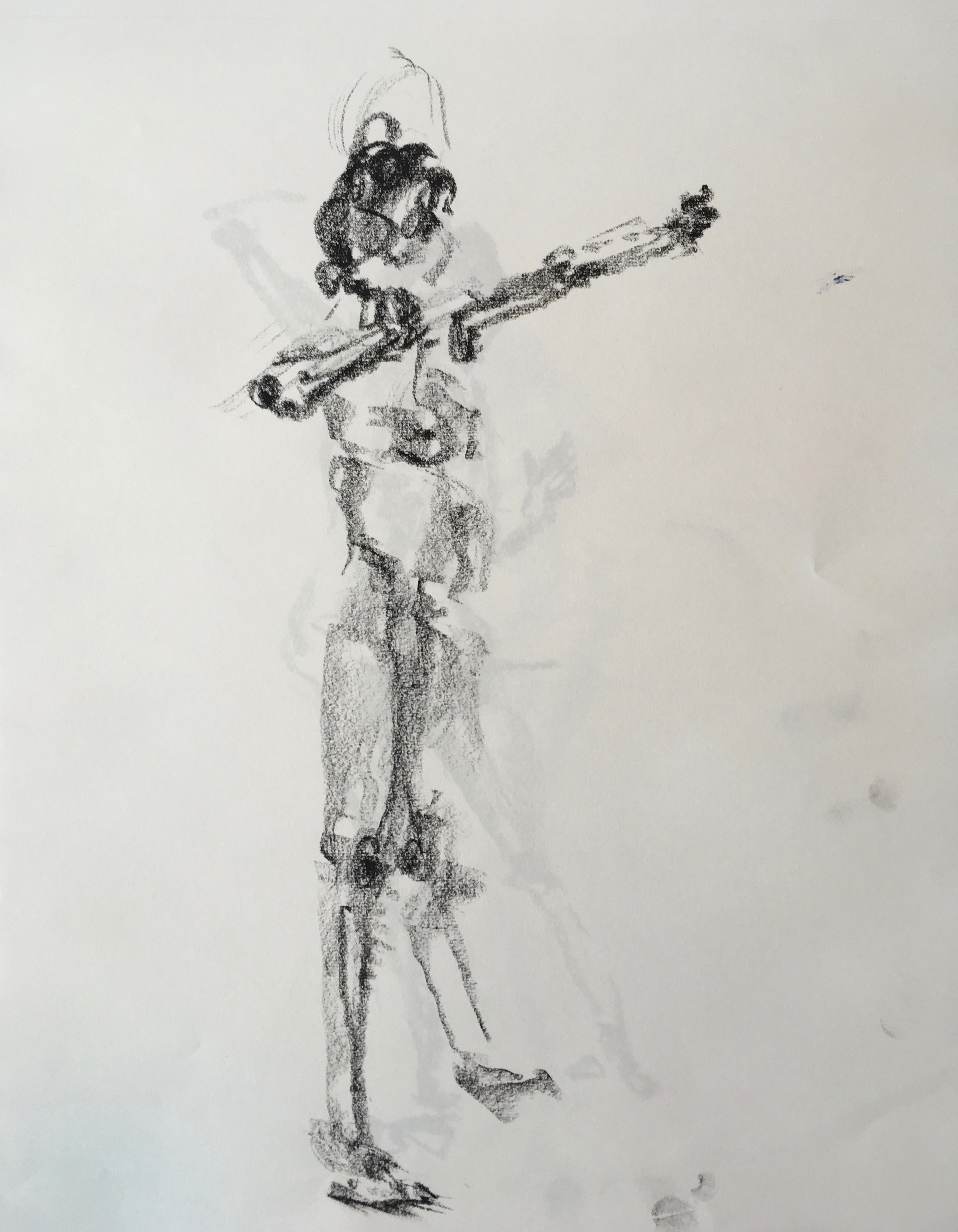 """Standing Nude"" charcoal on paper  2017 17'x14"""