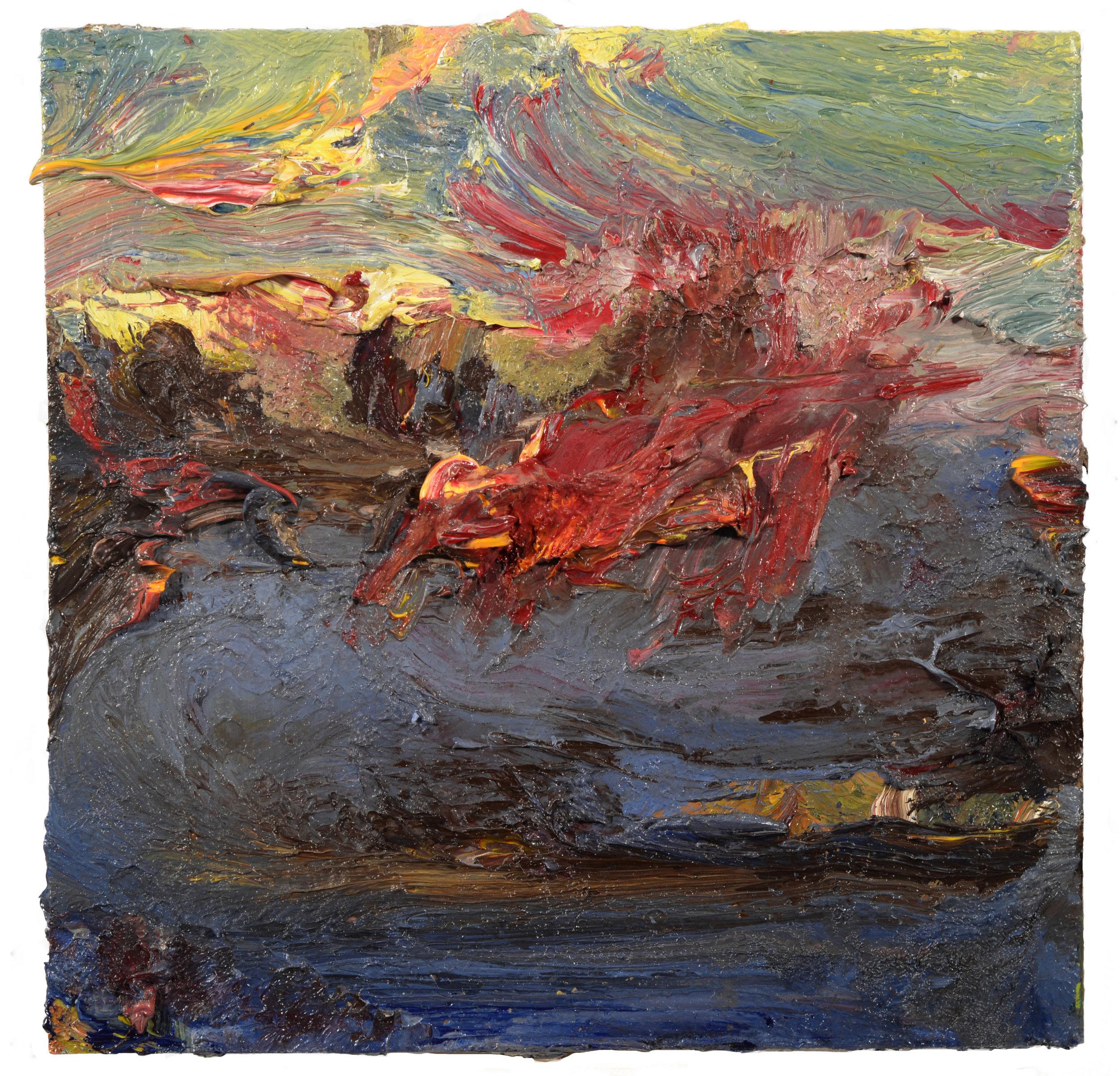 """Uncas Lake"" oil on panel  2017 8""x8"""