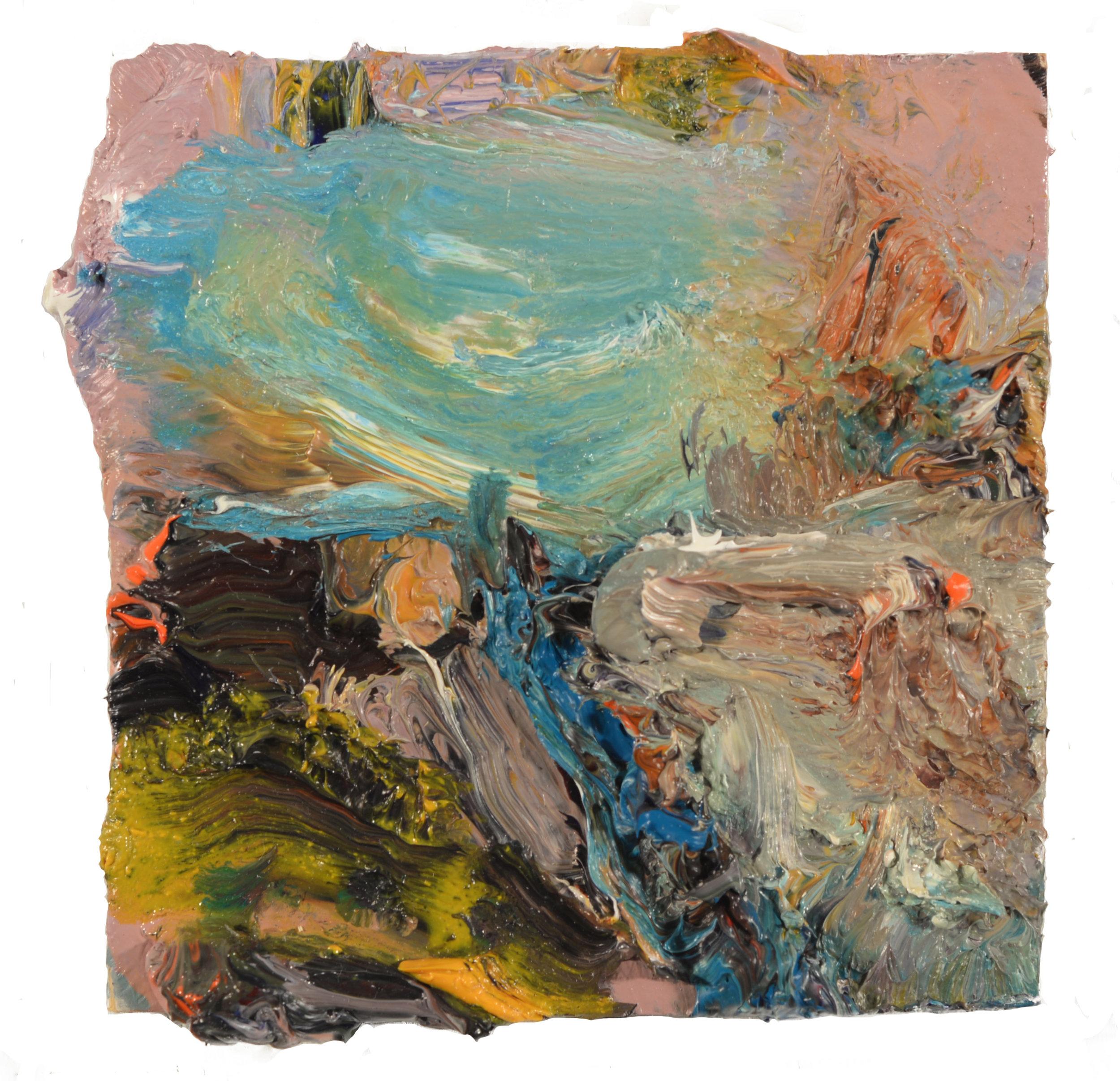 """Beach Gate""  oil on panel 2017 4""x4"""