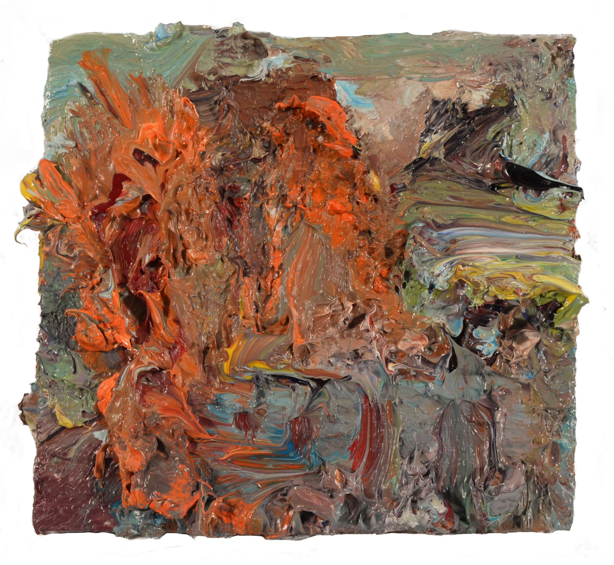 """""""Backyard, Beach House""""  oil on panel  2017  4""""x4"""""""