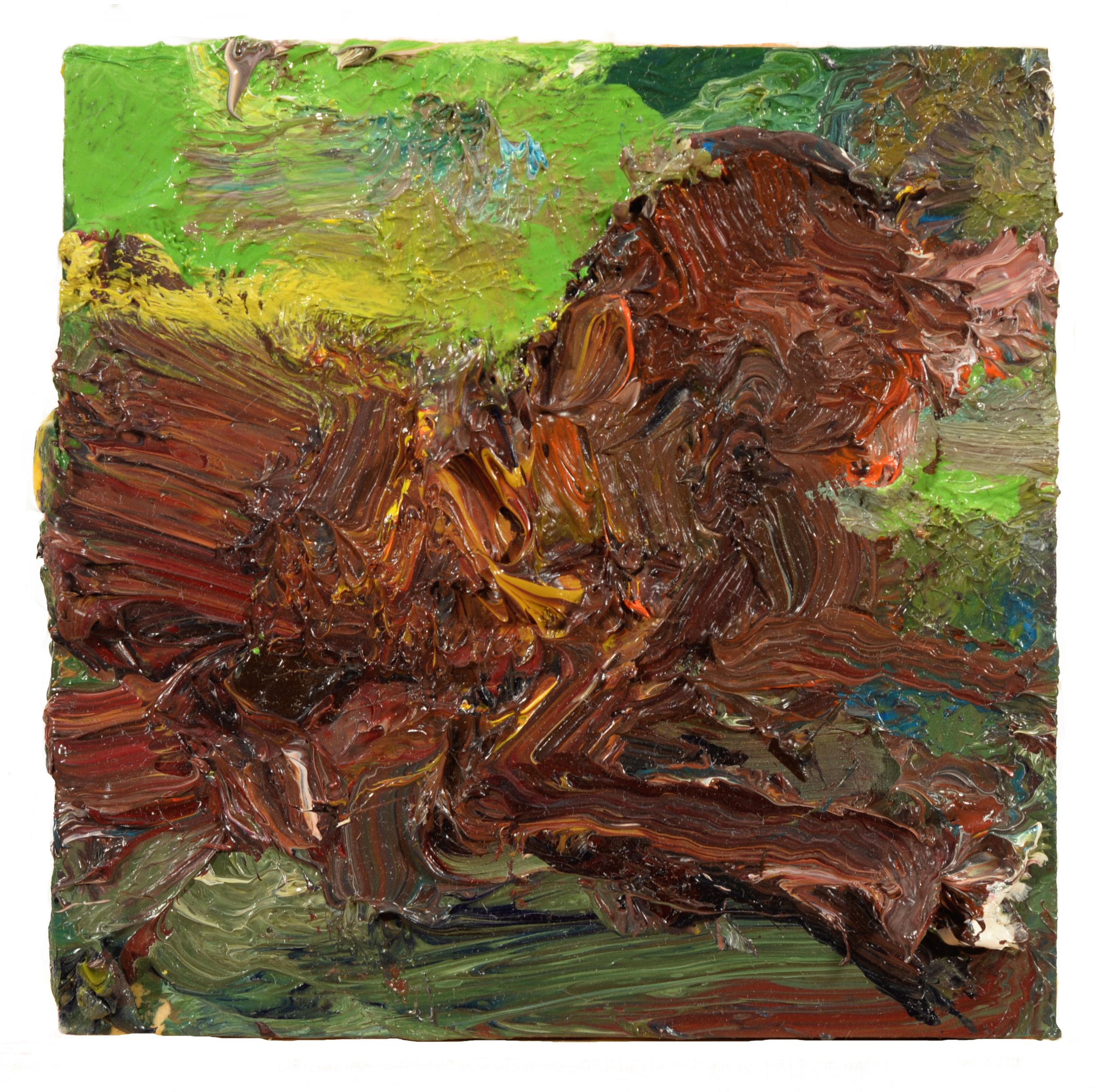 """Chocolate Labrador outdoors"" oil on panel 2017"