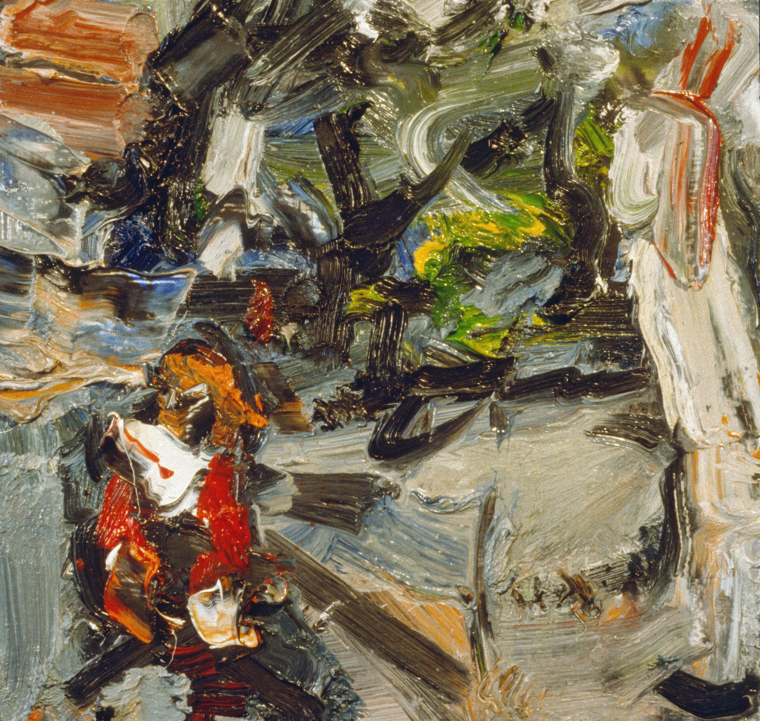 """""""Figure on Street Corner"""" oil on panel 1991 12""""x12"""""""