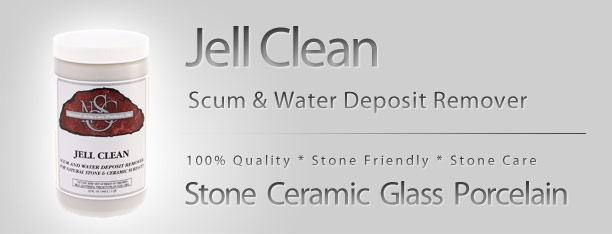 JELL CLEAN  State-of-the-art abrasive cleanser designed to remove heavy deposits of soap sum, mold, stains, hardwater deposits, rust and other stubborn stuck-on stains  WHERE TO USE  Excellent on all types of stone in showers, bar tops, vanities and on kitchen counters. Works on honed and polished marble, limestone, granite, as well as ceramic/porcelain tile, glass, chrome, and stainless steel.  DIRECTIONS  Wet a cloth or rag with water. Dip rag into Jell Clean for the desired amount of product. Rub in circular motions without applying heavy pressure until stain, hard water deposit or debris is removed. Immediately wipe with a clean, wet cloth or rinse with water. If desired, surface may be dried with a clean dry cloth.