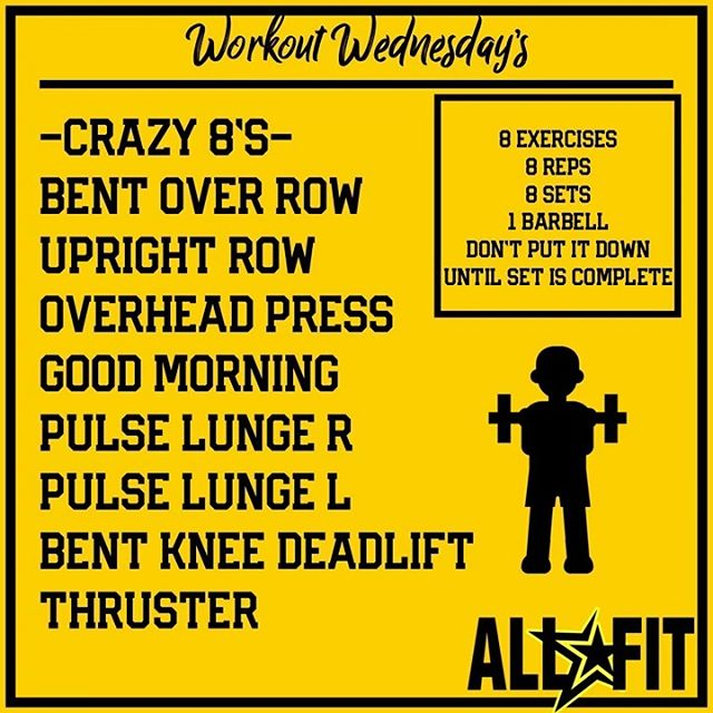 Here's one that only required a barbell or a pair of dumbbells. Complete all 8 exercises for 8 reps in a circuit without putting the bar or dumbbells down until completion. Rest one minute. Try to complete 8 sets. #workoutwedensday #orlandoaf #orlando #gymorlando #centralfl
