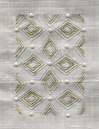 """""""Diamonds"""" embroidery by Sumitra"""
