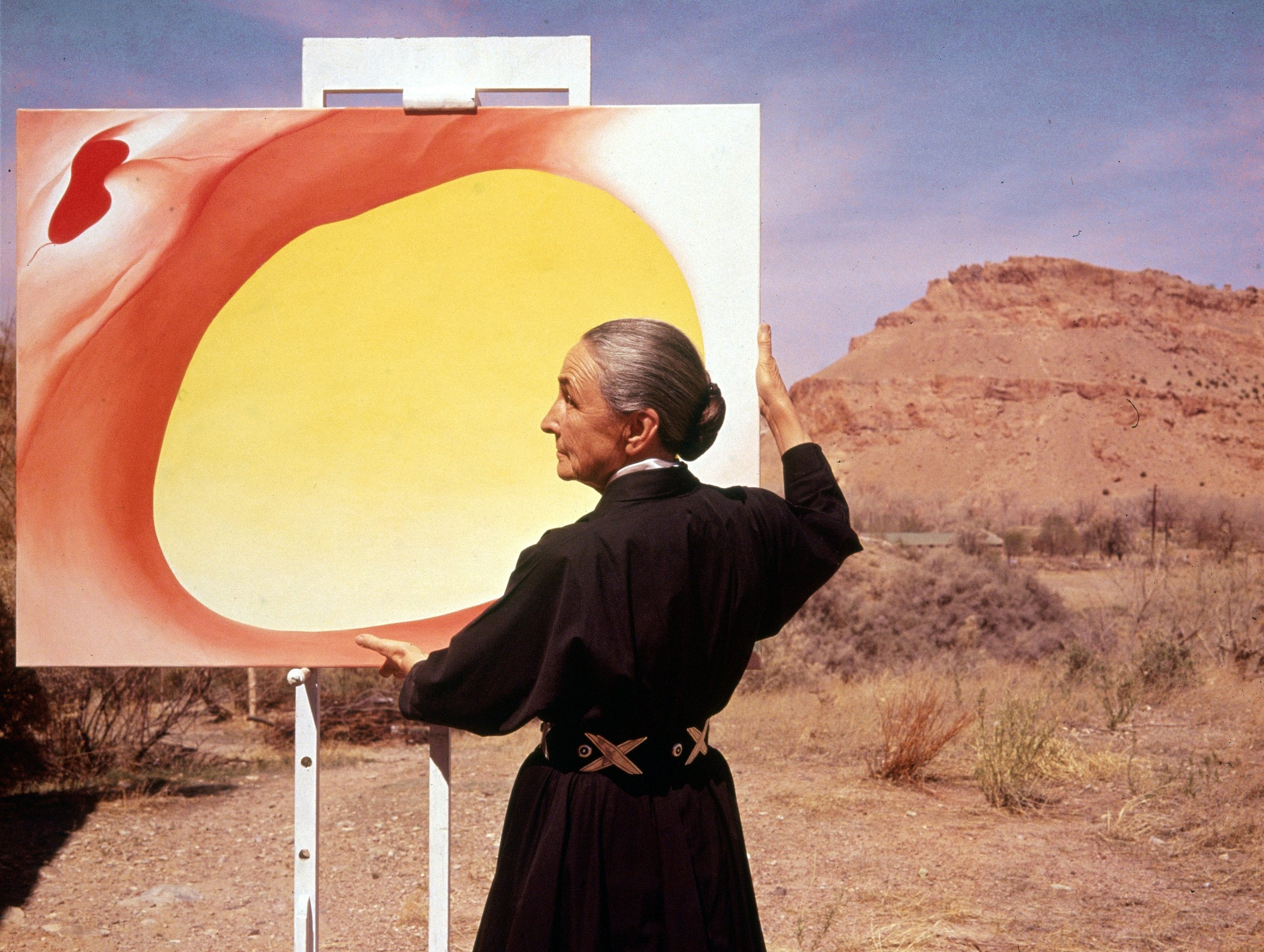 Georgia O'Keeffe at her outdoor easel in Albuquerque, New Mexico; 1960  Tony Vaccaro/Getty Images