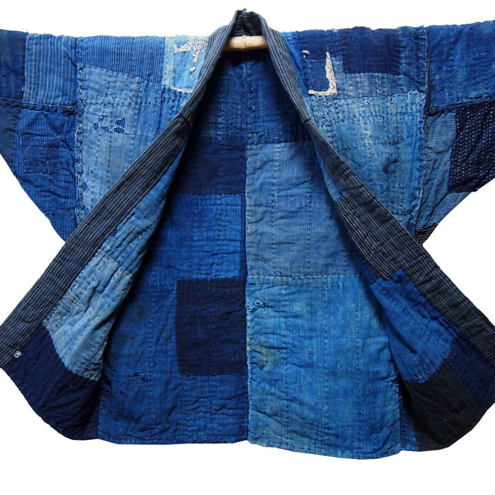 Lady Farmer's Indigo Cotton Jacket (using Boro and Sashiko techniques)