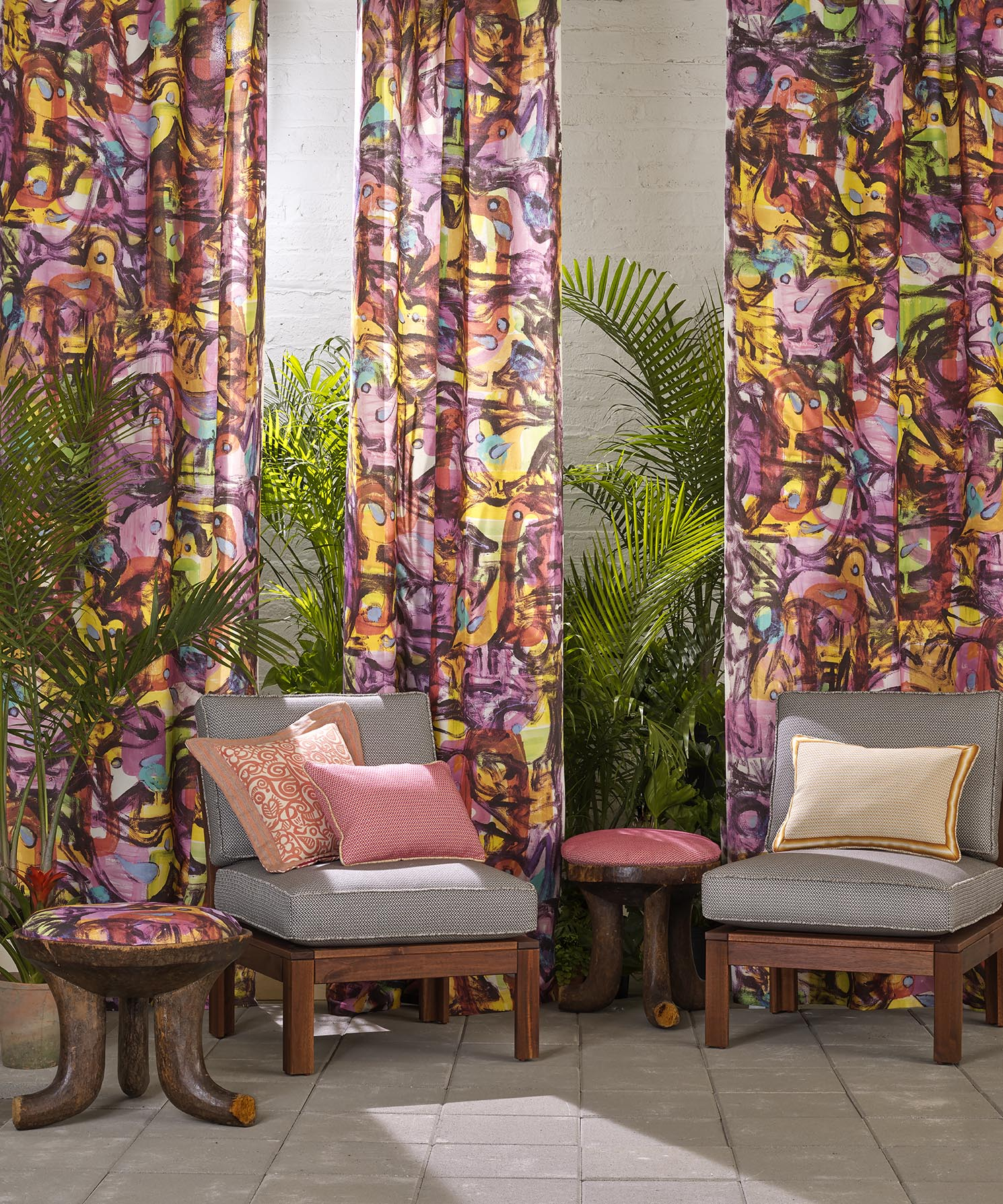 Aviary is a digitally printed indoor / outdoor fabric