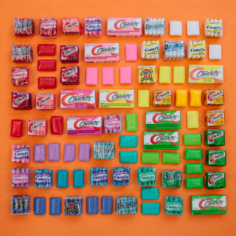 Gum arranged by color, Emily Blincoe