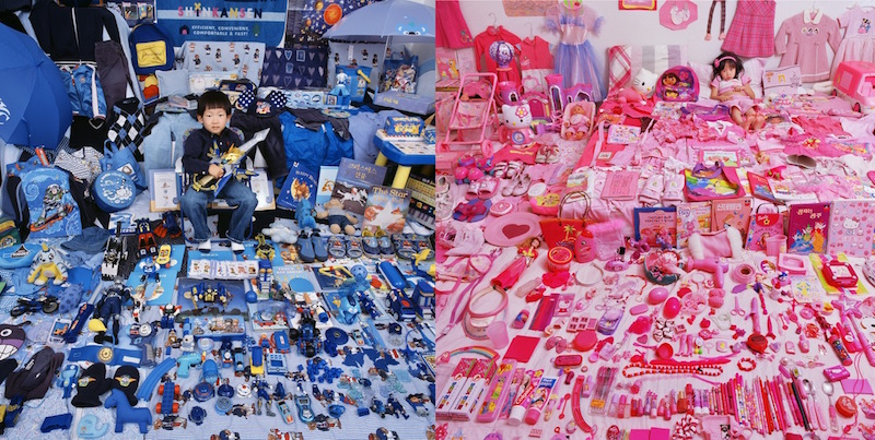 Artist: JeongMee Yoon  Title: The Pink & Blue Project  Medium: Photography  Year: 2005 - ongoing  Size: Unknown