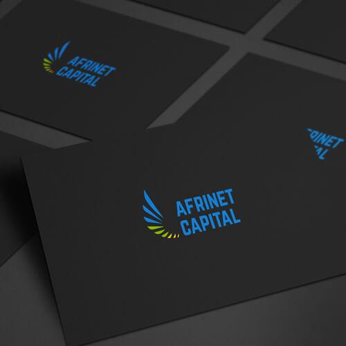 Modus Design Lab Case Study (work) –.Afrinet Capital full logo, business card mockup.