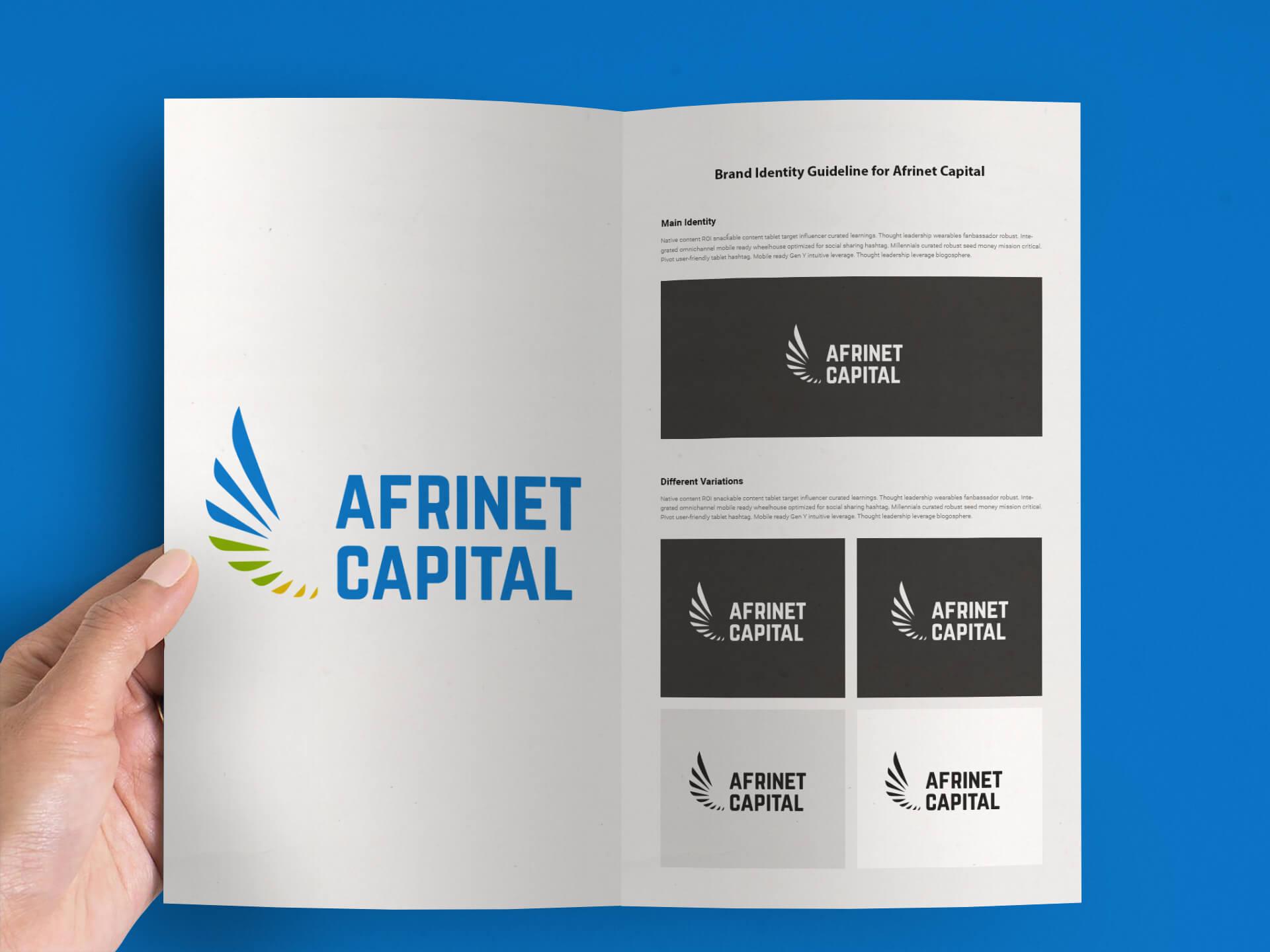 Modus Design Lab Case Study (work) –.Afrinet Capital full logo, brand guideline mockup.