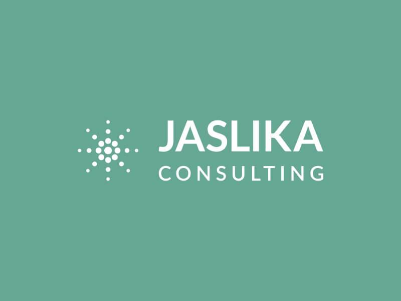Modus Design Lab Case Study (work) – Jaslika Consulting full logo, white,vertical.