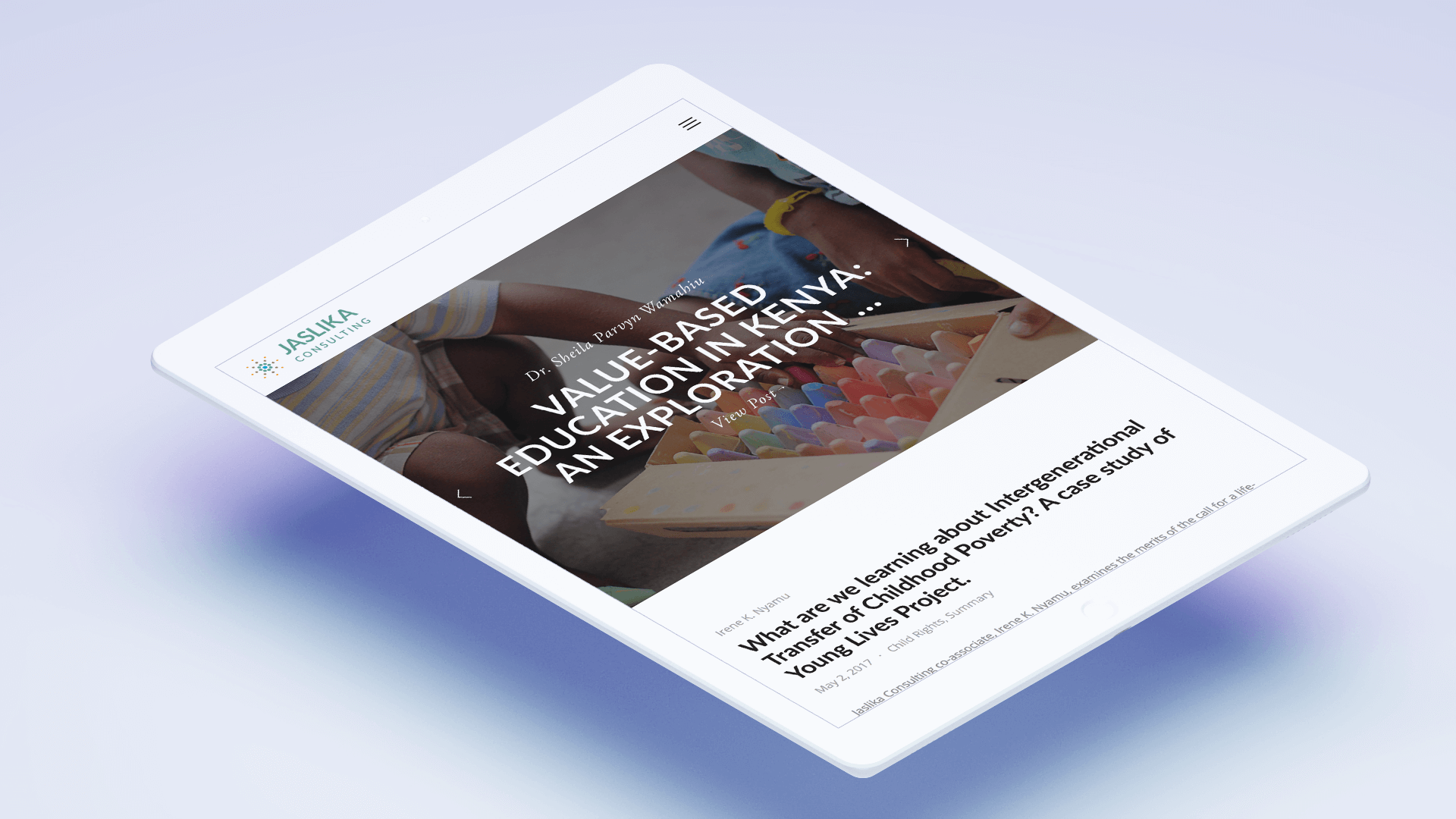 Modus Design Lab Case Study (work) –.Jaslika Consulting iPad mockup.