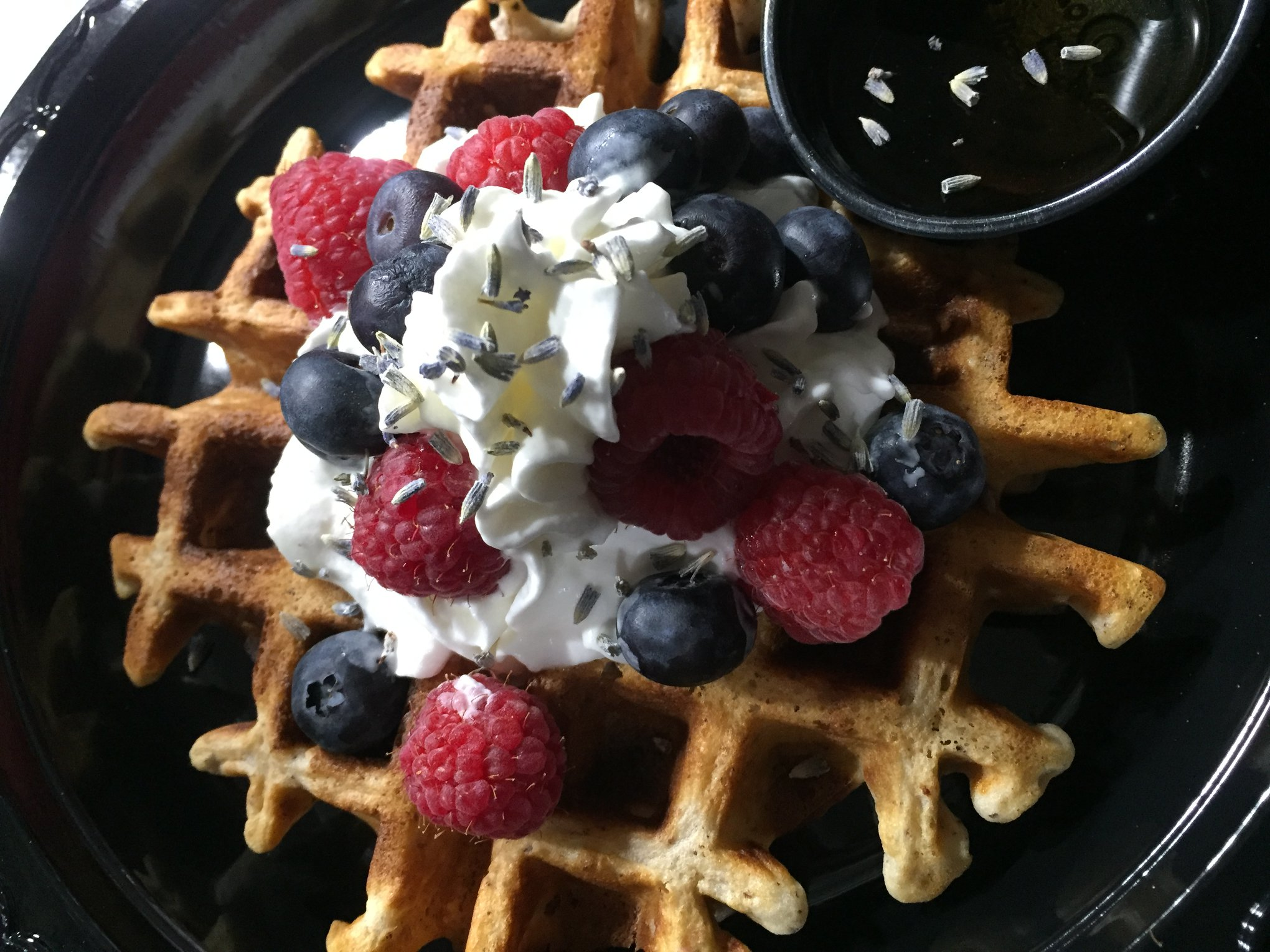 Gluten Free Organic Berry Waffles & Lavender Blossoms