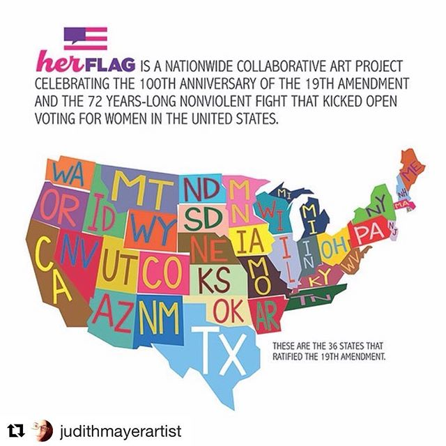 Judith Mayer is working on a nationwide collaborative project that is seeking supporters!  #Repost @judithmayerartist ・・・ 2 weeks left to support @herflag2020 crowdfunding. Help get us past $15,000 Go to herflag.com for more info. #publicart #womenartists #supportwomenartists #19thamendment #womenvote