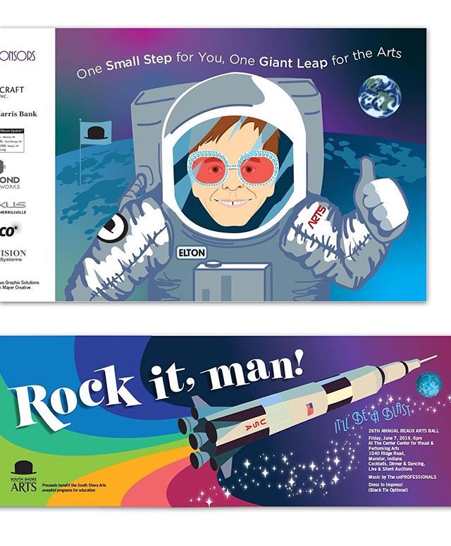 Funky sci-fi! It's a cool mashup from Judith Mayer #Repost @judithmayercreative ・・・ Elton John as an astronaut? Yes, because that's how we roll. Artwork for a ball invite. Theme: 50th anniversary of the moon landing—Rock it, man! #moonlanding #invitationdesign #spaceillustration #scifiillustration #eltonjohn #womenofillustration #womeninillustration #portraitillustration #illustratedportrait #celebrityportrait