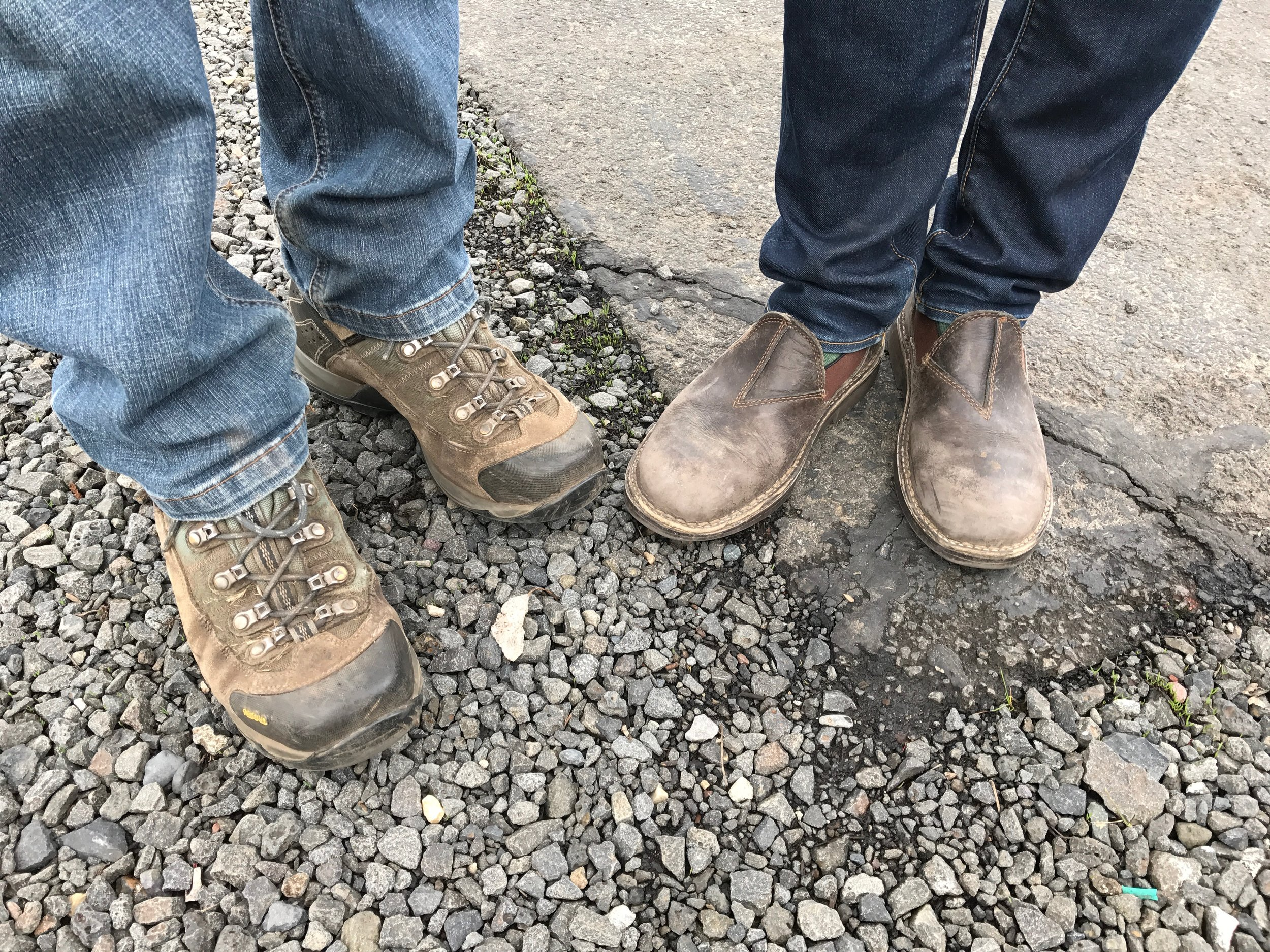 Practical footwear worn by Steven Thompson and Kris Fade of  Analemma Wines