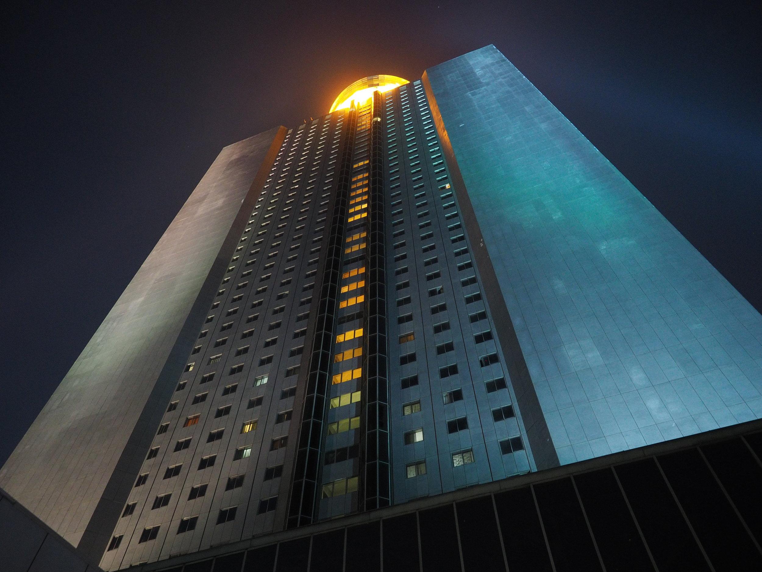 The imposing behemoth that is the Yanggakdo International Hotel in Pyongyang.