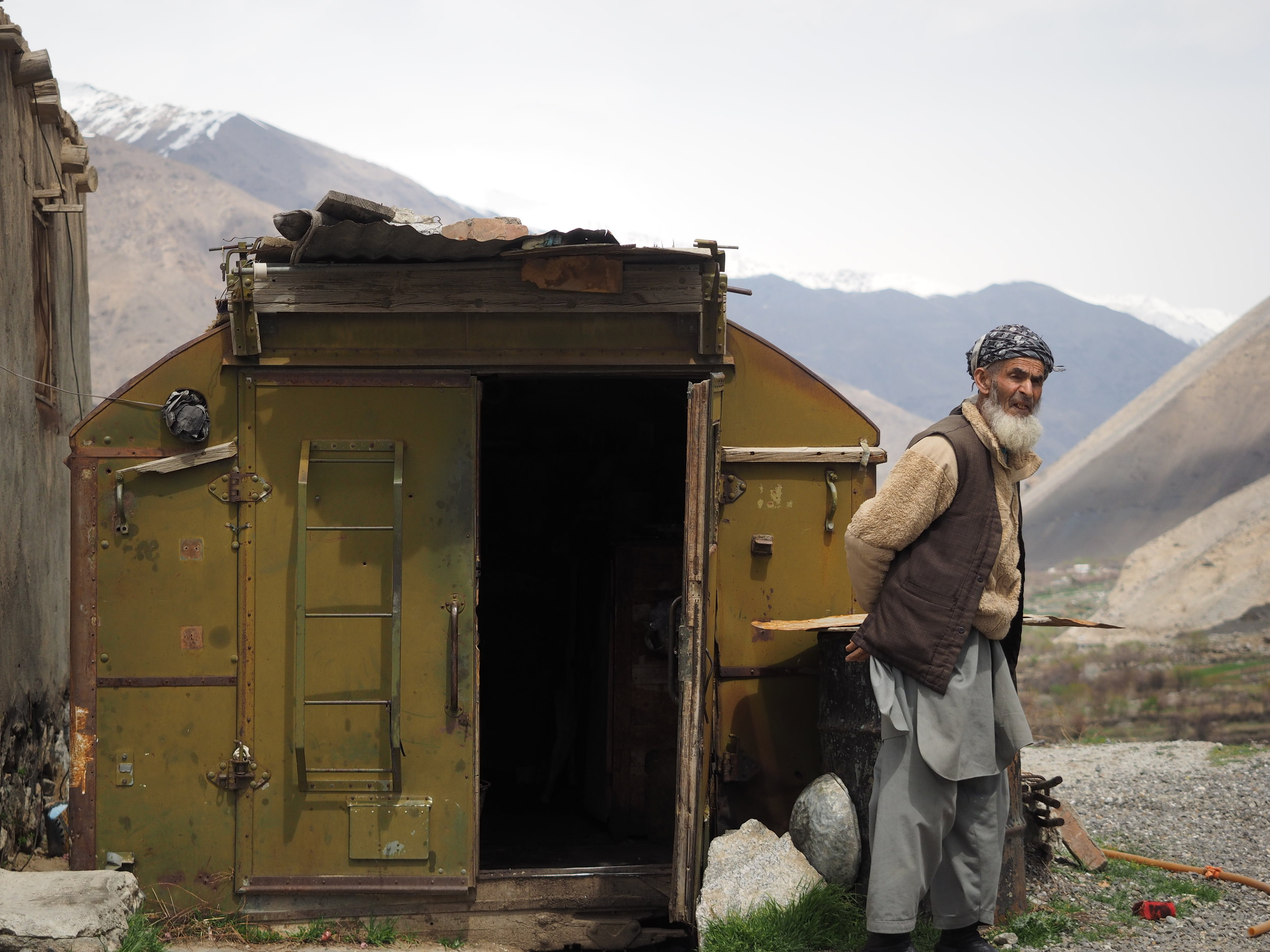 A caretaker at the mausoleum of Massoud in the Panjshir Valley leaving his accommodation.