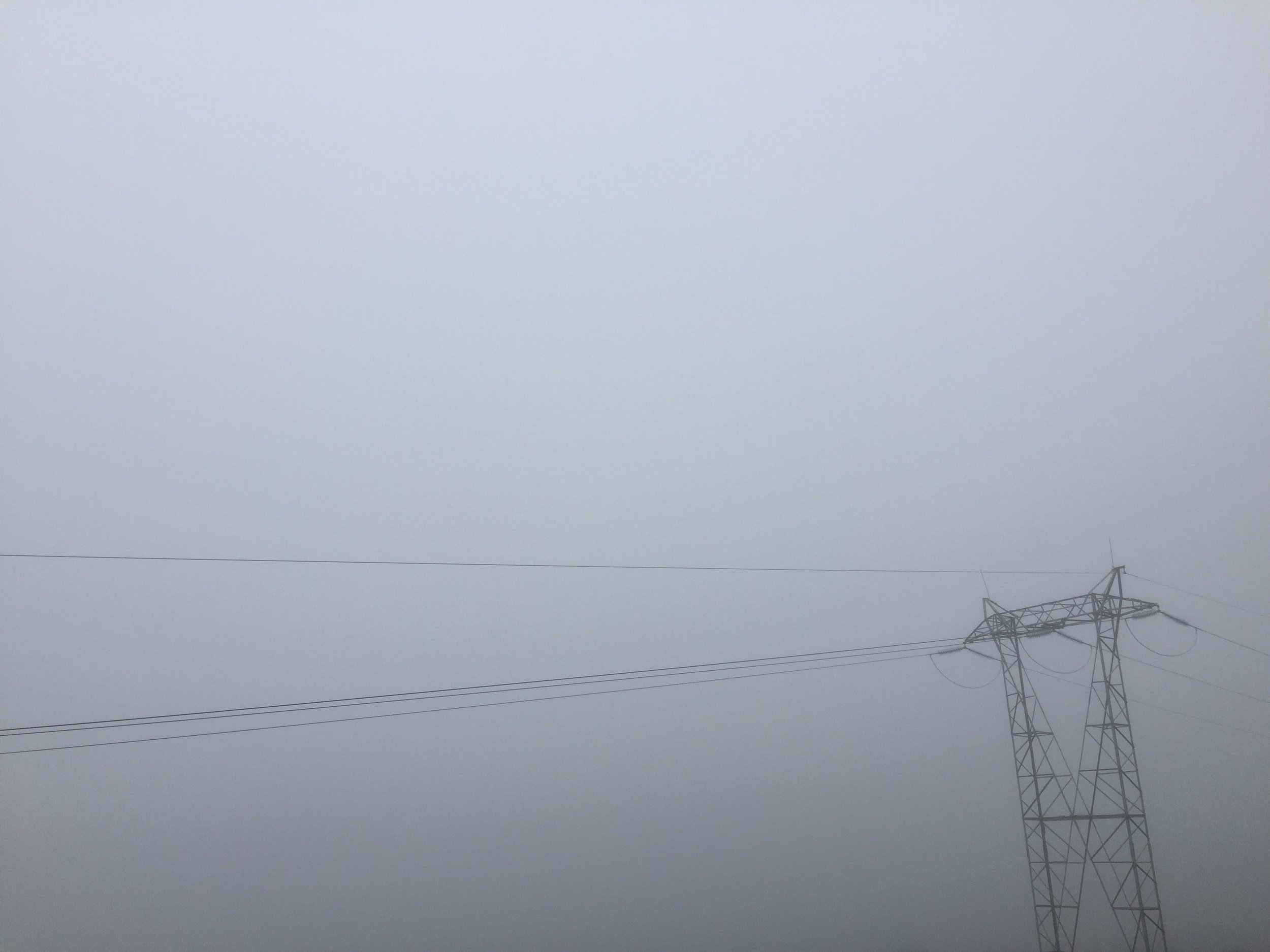 The air was so thick with fog, pylons loomed over me from nowhere like robotic triffids.