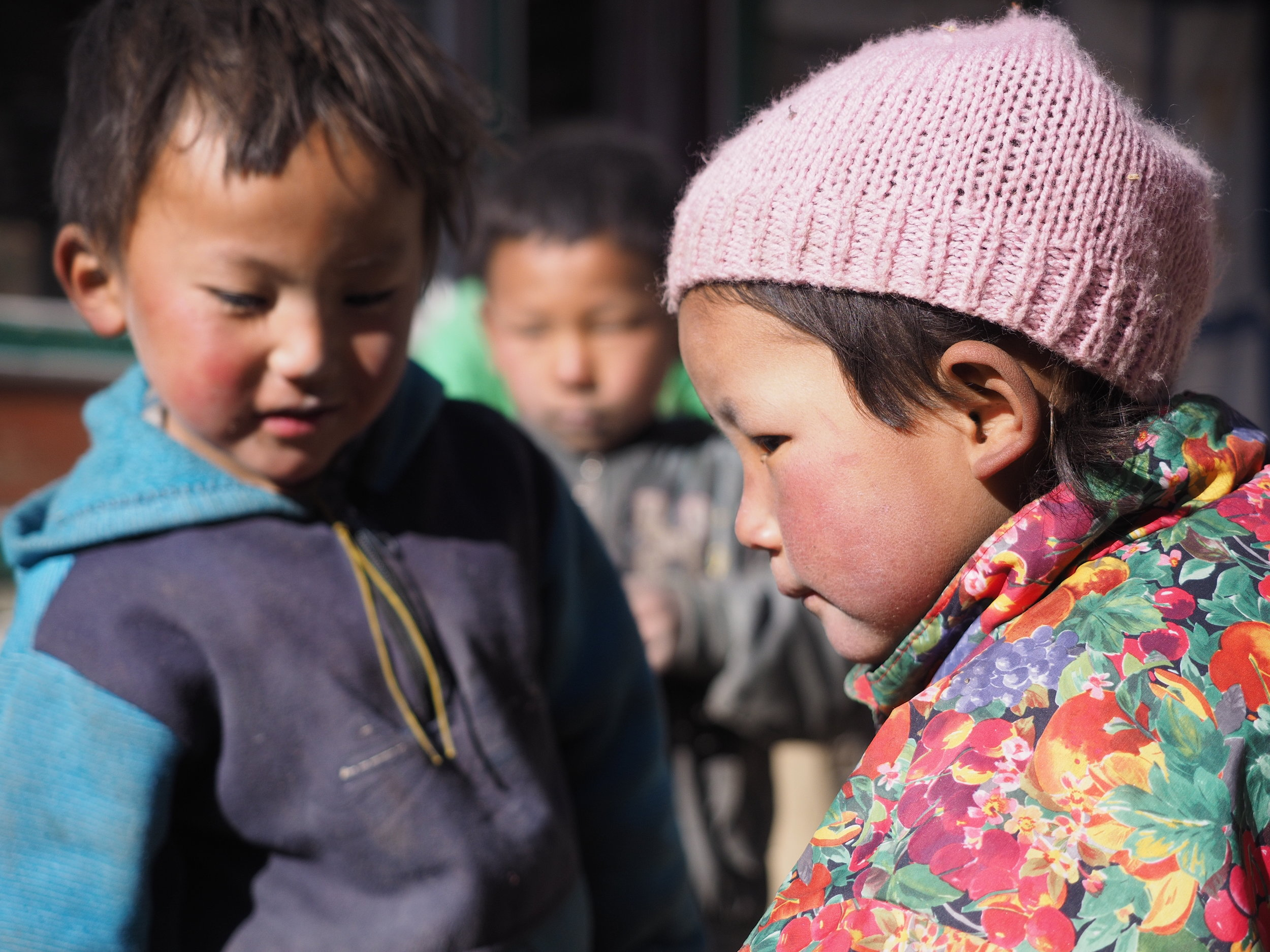 Children playing in one of the remote villages in the Himalayas.