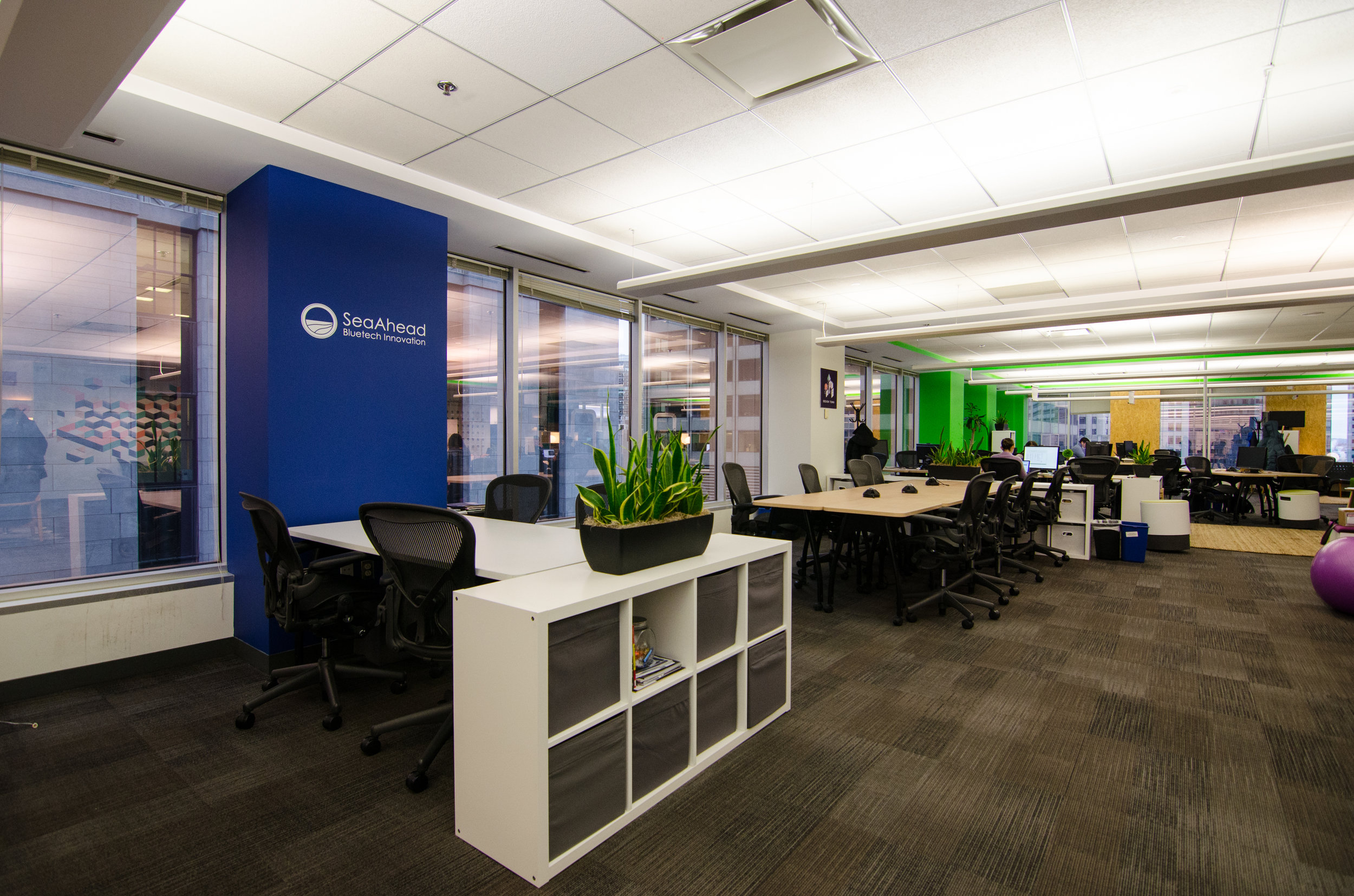 The SeaAhead coworking space at CIC Boston provides ocean innovators with shared workspace and an ecosystem of mentors, service providers, and investors. Photo courtesy of SeaAhead.
